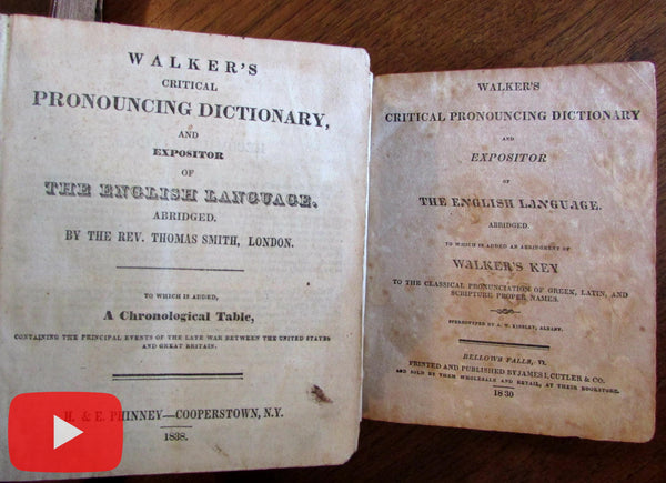 Walkers Dictionary lot x 3 old leather books 1826 1830 1838 NE imprints War 1812
