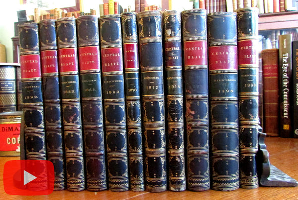 Ophthalmology Medical Journal German Eyes 1878-1914 Leather books 11 vols