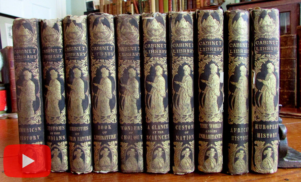 Decorative children's books c.1850 Parley Goodrich lot x 10 World Cultures Indians