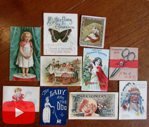 Advertising booklets c. 1880-1910 era colorful Indian children thread lot x 10