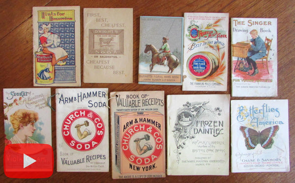 Advertising promotional ephemera c.1880-1920 lot x 10 items color litho paper