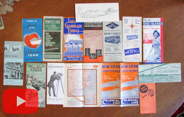 New York state tourism c. 1920-50's travel ephemera lot x 14 brochures maps views