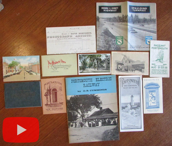 Portsmouth New Hampshire lot x 12 items maps brochures c.1900-1960