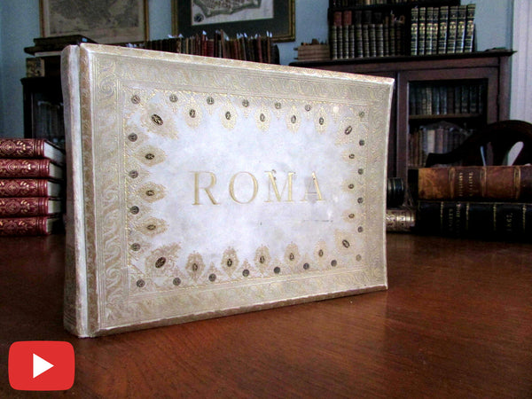 Rome Italy souvenir photo book 19th century vellum 60 views