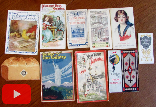 Advertising c.1880-1920 ephemera lot x 10 items colorful promotional paper