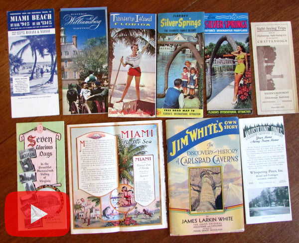 Travel ephemera 1923-1950's Florida Virginia southern U.S. lot x 10
