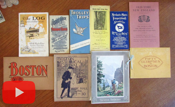 New England 1890's-1920's vintage lot x 10 travel brochures pamphlets graphic
