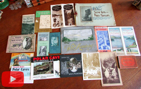 White Mountains New Hampshire c.1900-1940's travel lot x 18 brochures views