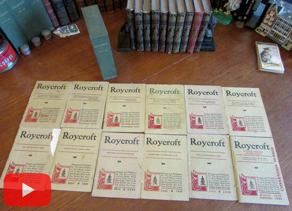 Roycroft Magazine 1919-1920 run 12 issues complete boxed Elbert Hubbard