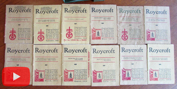 Elbert Hubbard Roycroft Magazine 1918-1919 run 12 issues complete boxed