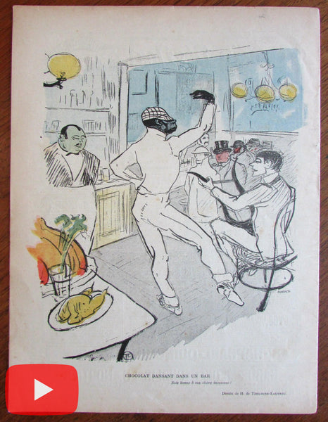 Toulouse-Lautrec March 1896 color litho art Le Rire issue Chocolat dans un bar