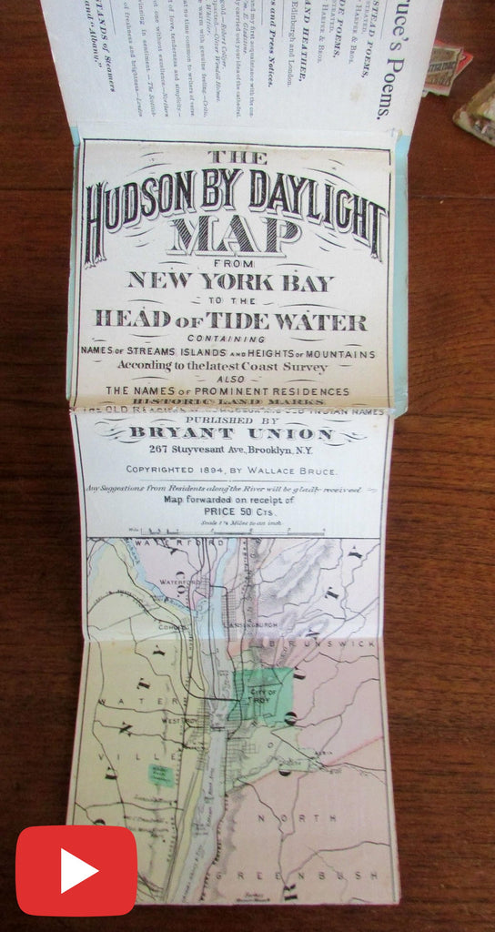 Hudson River 9' long map 1894 Tourist New York city guide book