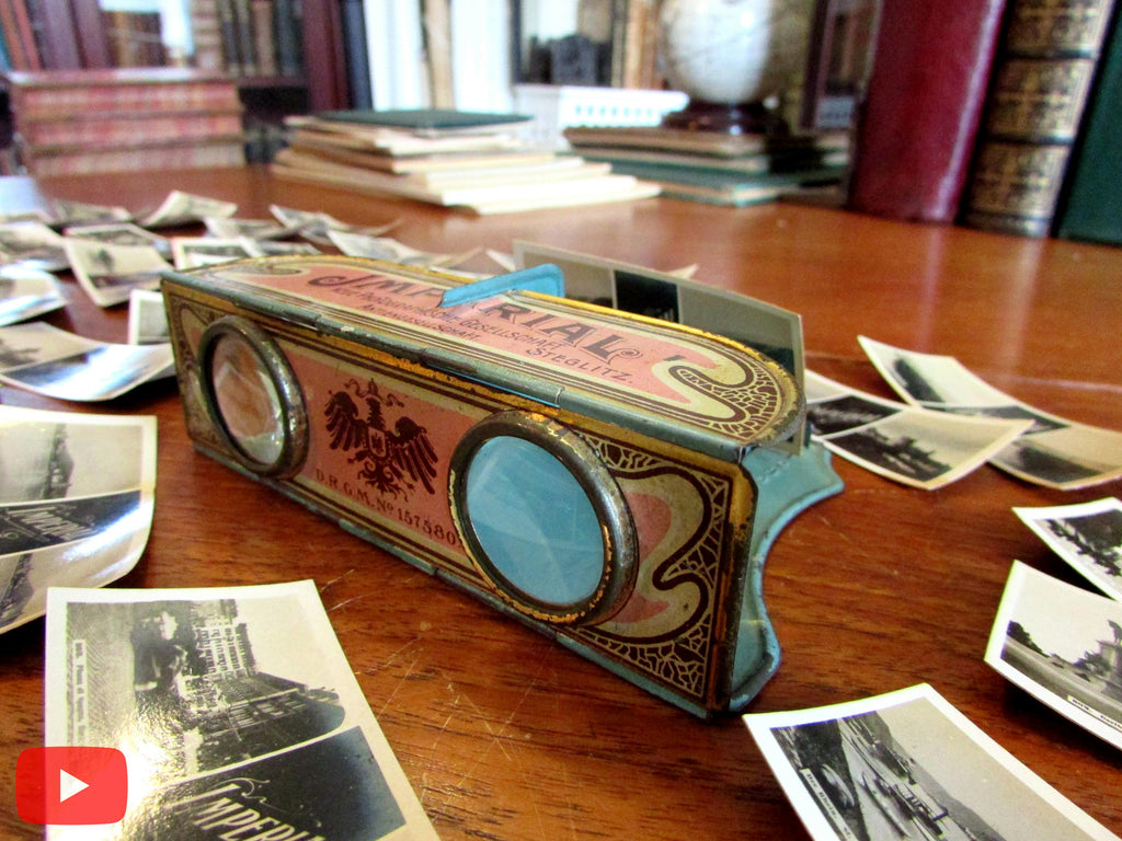 Tin toy 3-D pocket stereoviewer c. 1910 Germany Art Nouveau w/ 100 cards