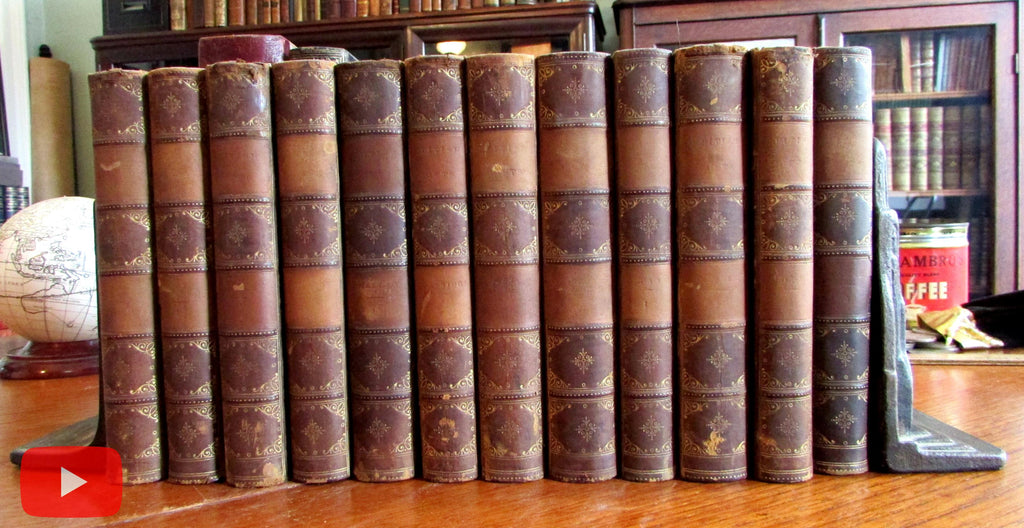 Leather books 1871 lot x 12 poetry shelf decoration bindings gilt spines
