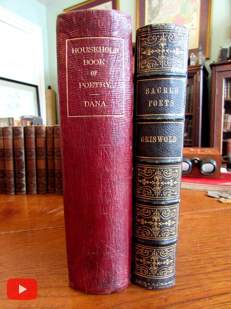 Poetry Anthologies gift books 1846 & 1865 Leather decorative gift bindings