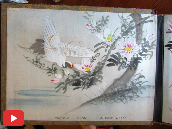 China 1920 Shanghai Chinese book lacquer post card album hand painted pages