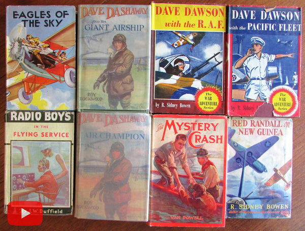 Early Aviation 1915-1945 Boy's Books w/ colorful dust jackets Lot x 8