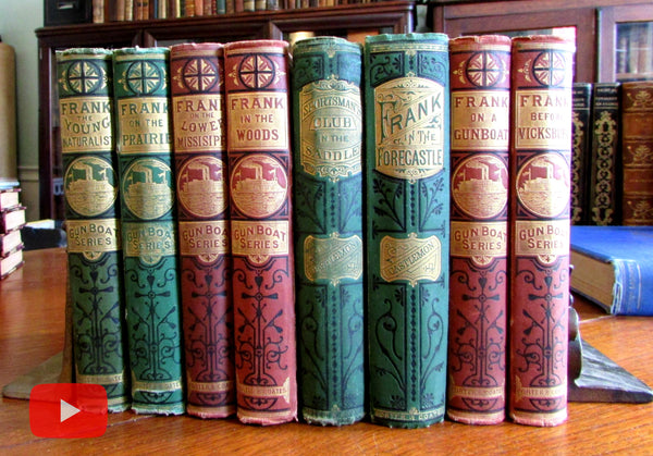 Decorative juvenile boys books c.1864-76 Castlemon Lot x 8 Gunboat series