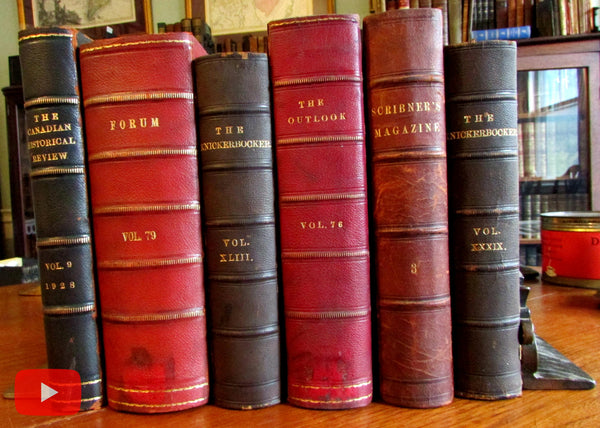 Leather bound periodicals 1852-1928 lot x 6 Knickerbocker Outlook Scribners