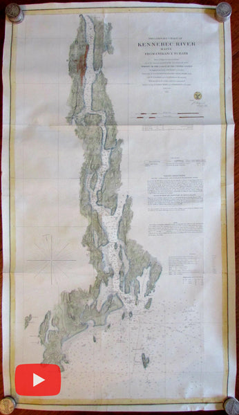 Maine Kennebec river Bath 1861 large nautical chart hand colored map