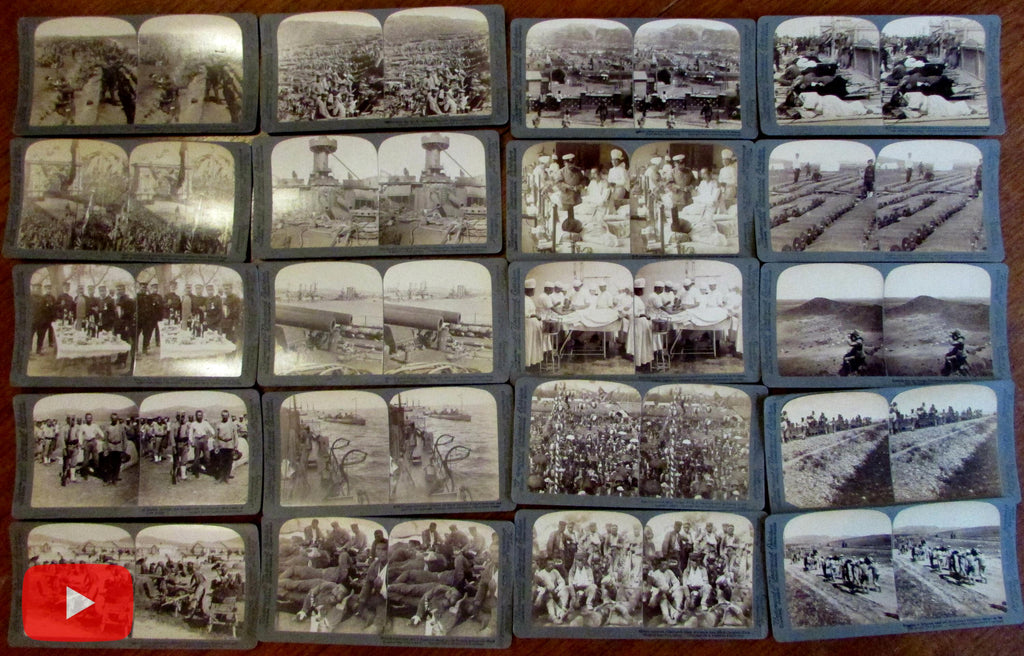 Russo-Japanese War 1905 stereocard lot x 20 real photo Russia Port Arthur