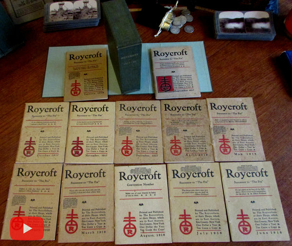 Elbert Hubbard Roycroft Magazine 1917-1918 run 12 issues boxed