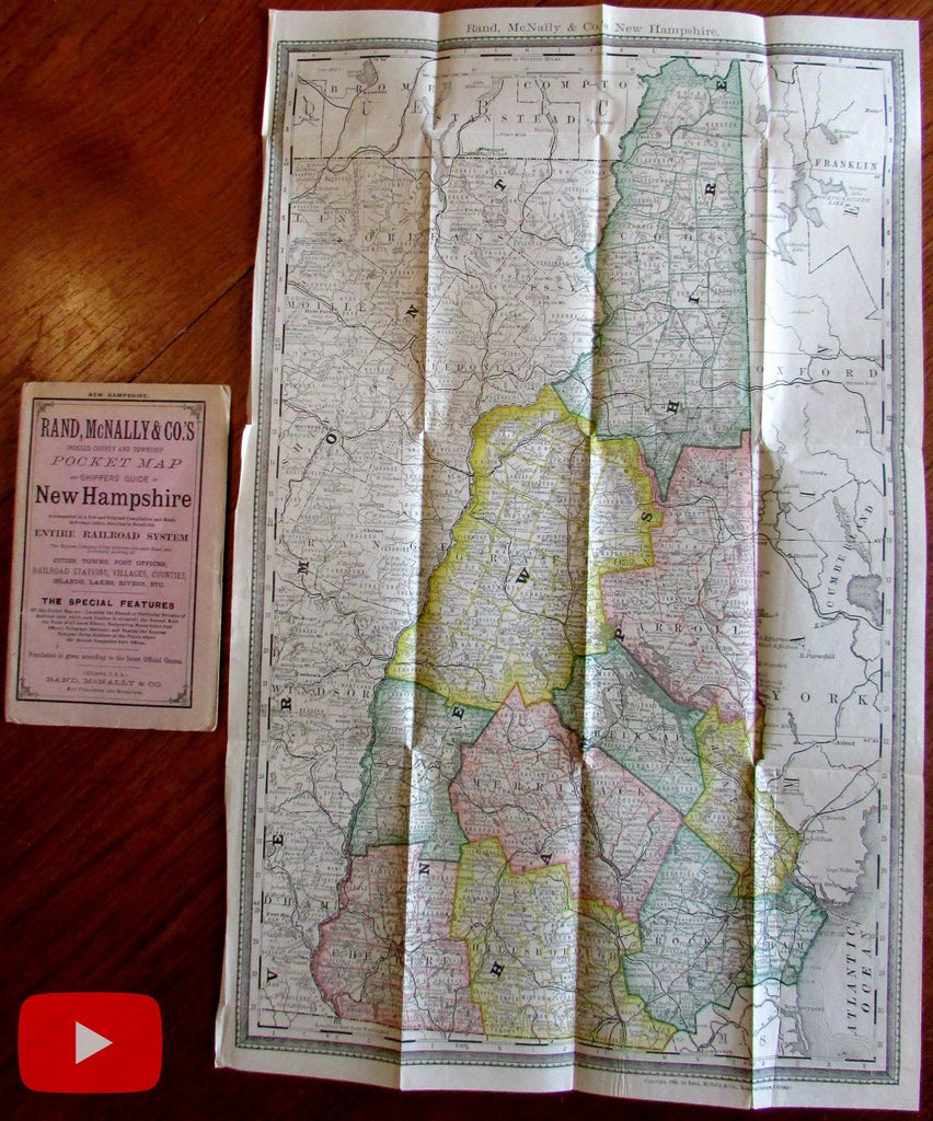New Hampshire state folding pocket map 1885 Rand McNally booklet