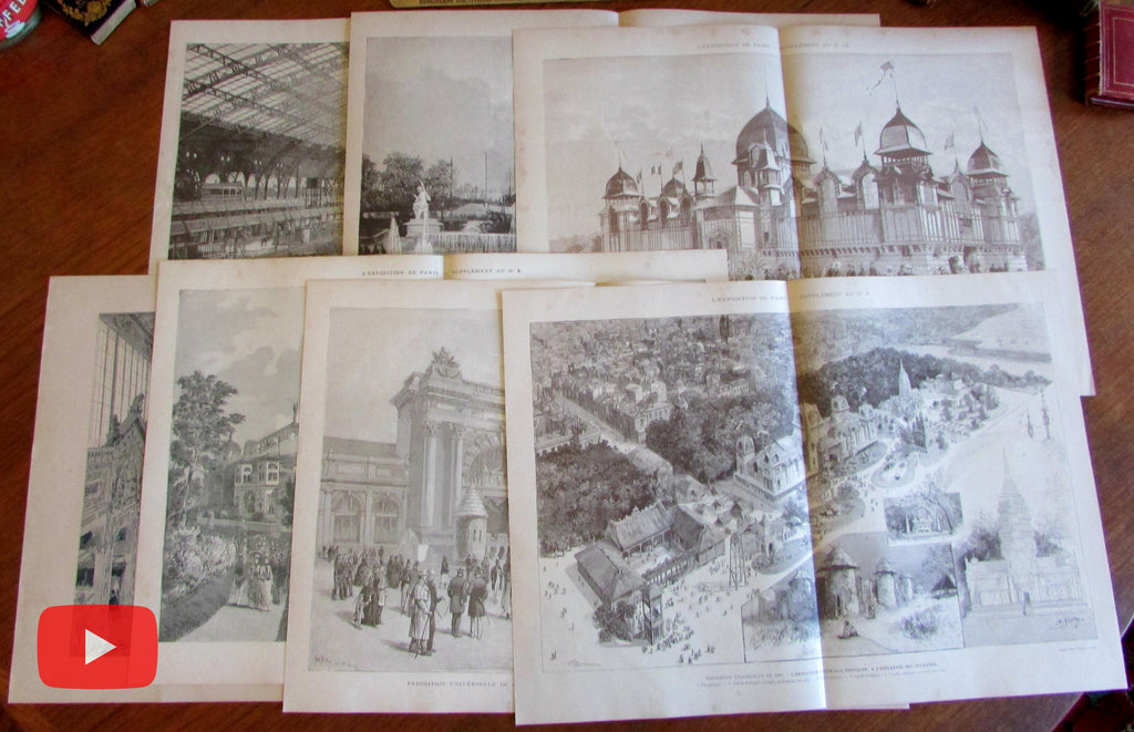 Exposition Universelle 1889 Paris lot x 7 large World's Fair prints
