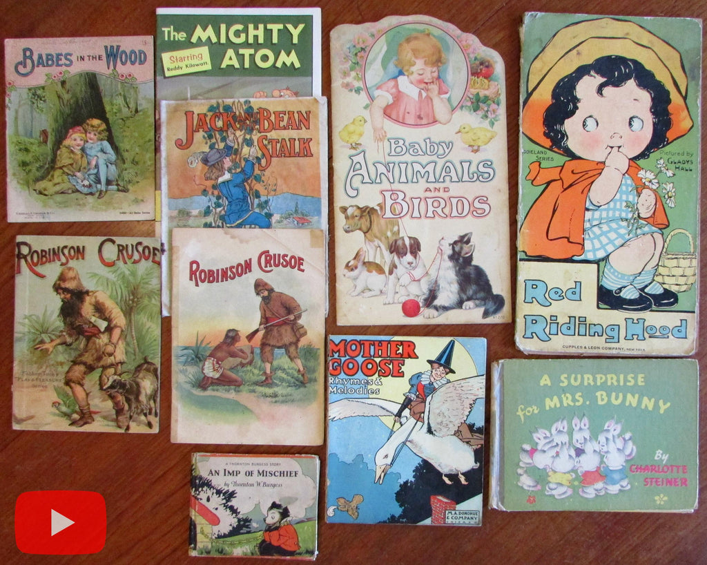 Children's juvenile books old colorful c.1890-1960 Lot x 10 Robinson Crusoe
