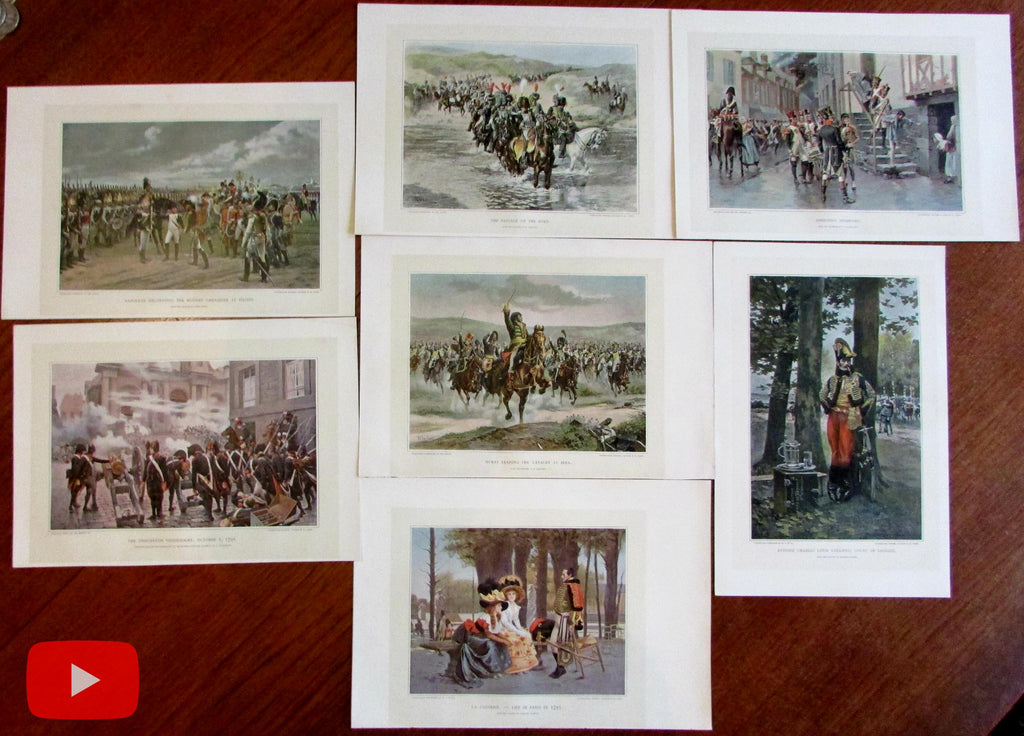 Napoleon Napoleonic wars c.1900 lot x 7 color prints military society
