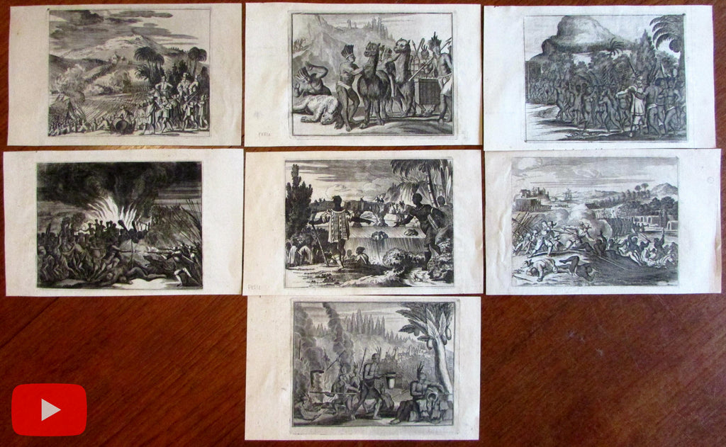 Ogilby 1671 Americas Peru early prints lot x 7 Hispaniola Mexico Indians