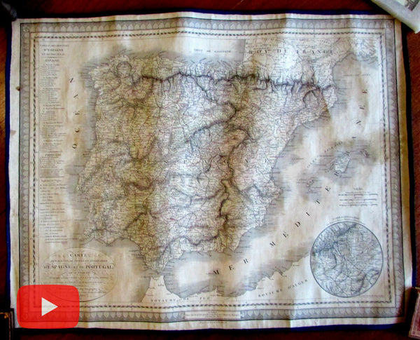 Spain postal Picquet Lapie linen backed 1822 large scarce engraved map
