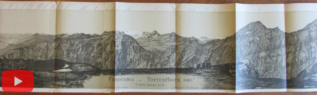 Switzerland Swiss Alps 1880's Torrenthorn 8' long panoramic view map