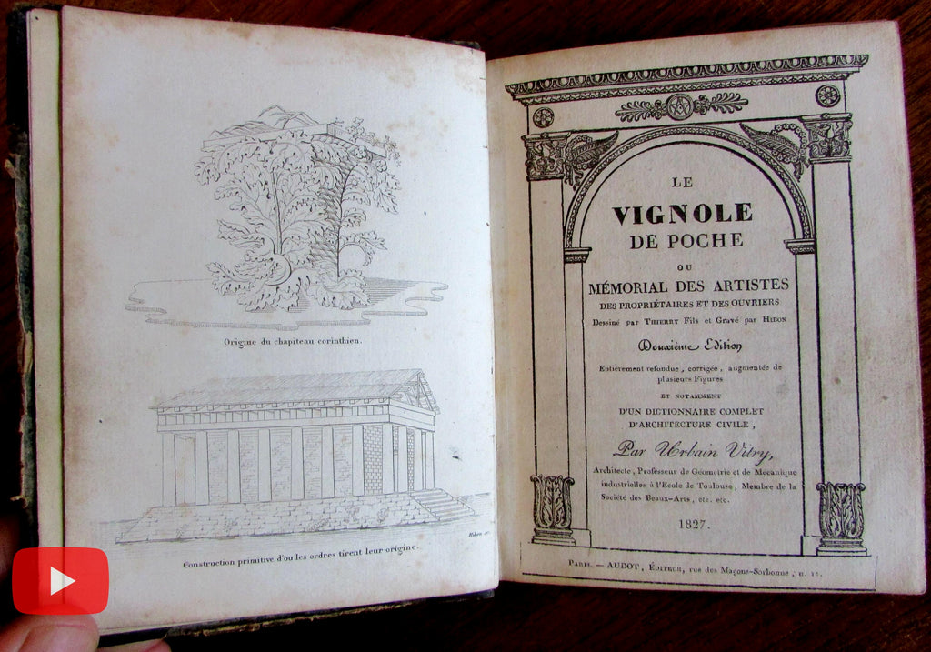 Architecture Vitry 1827 Le Vignole Orders 37 engraved plates leather book