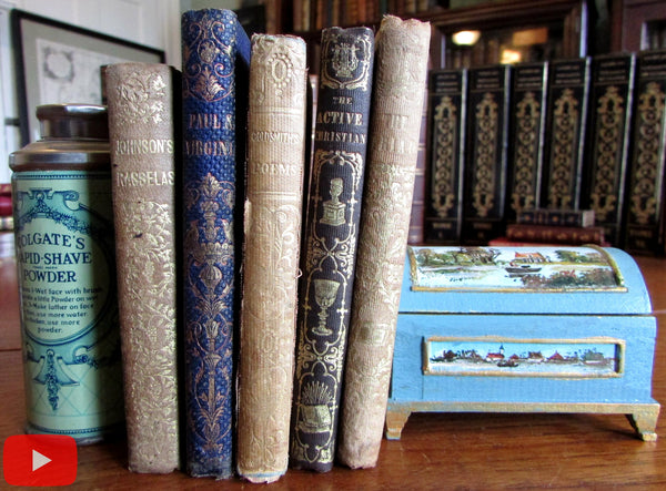Gift books c. 1841-55 lot x 5 small gilt decorated charming ornate cloth bindings