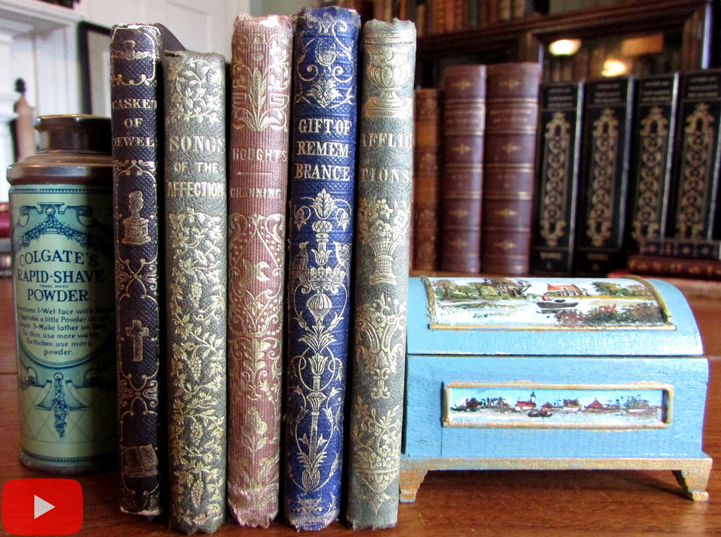 Small gift books c. 1845-55 lot x 5 gilt decorated charming ornate cloth bindings