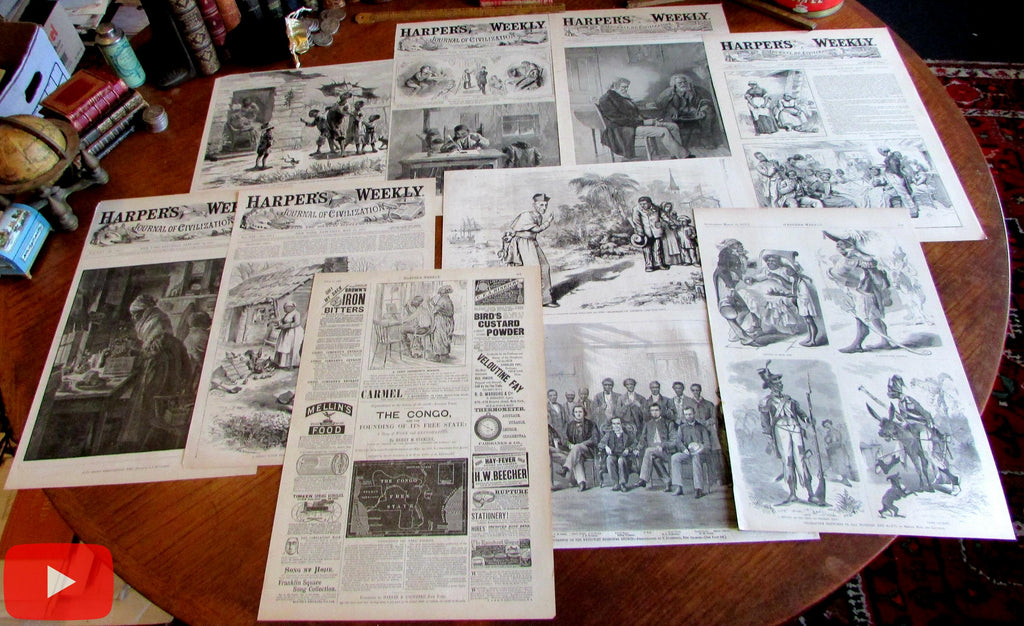 African Americans in Popular Press 1866-1890 Lot x 10 printed covers comic