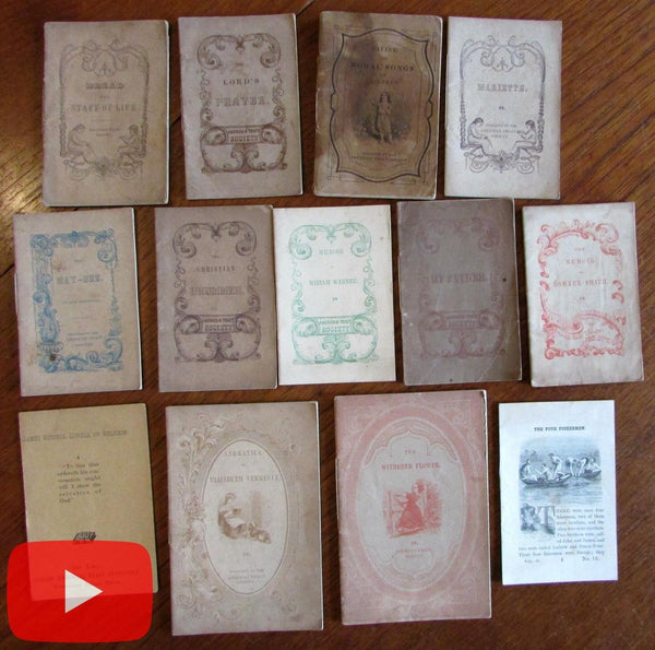 Chap Book lot x 13 American Tract Society c. 1850-70's wood cuts Religious