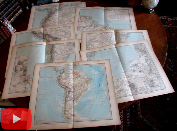 South America 1888 Petermann huge wall map 6 sheets lot of 7 old maps