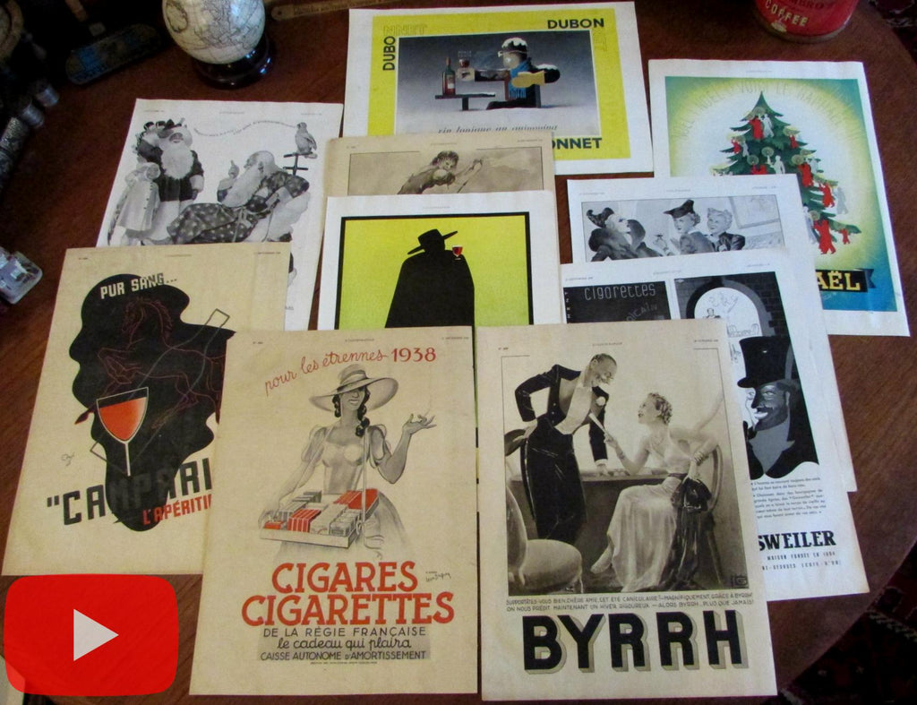 Art Deco Graphics Advertising 1937 lot x 10 Alcohol Cigarettes Cafe life