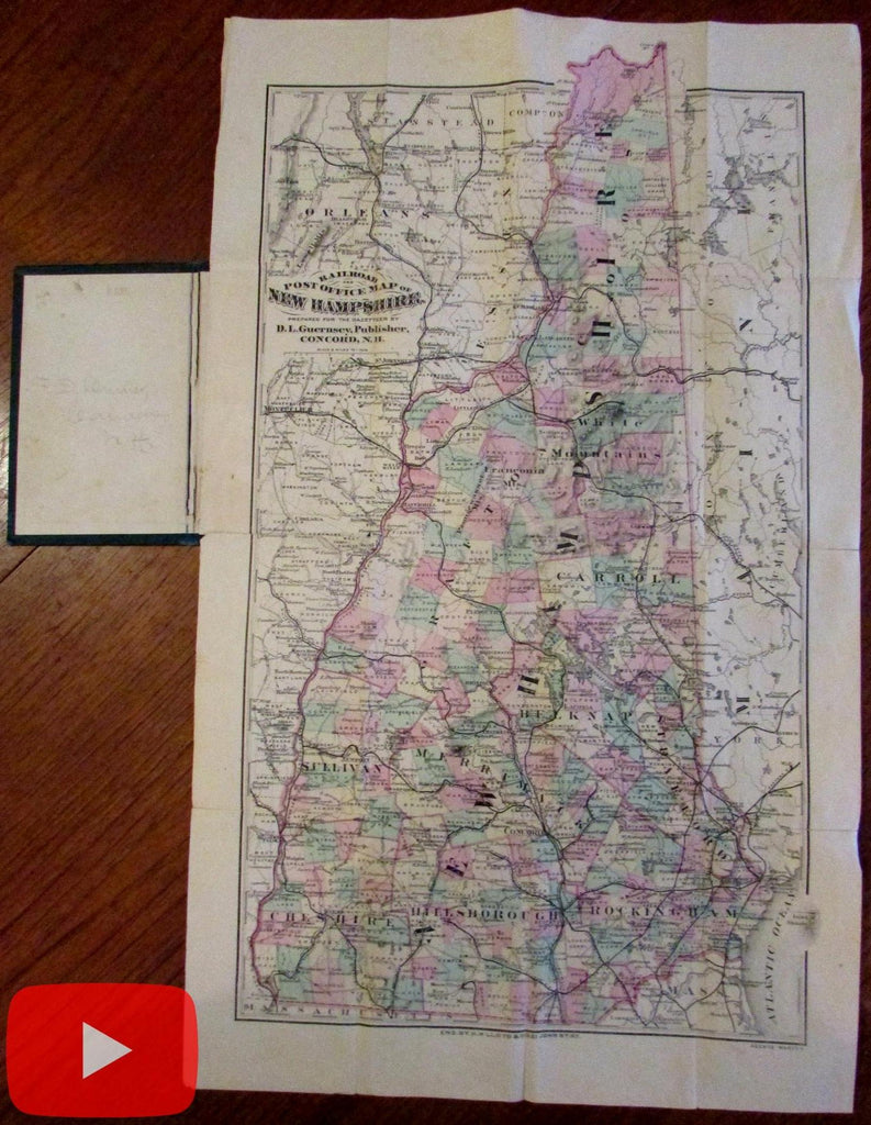 New Hampshire by D.L. Guernsey pocket map c. 1874 hand colored rare Lloyd