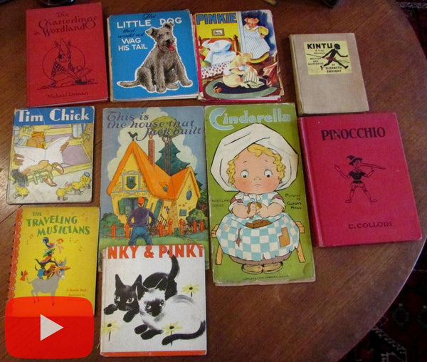 Children's picture books 1916-1946 lot x 10 color plates Illustrated stories