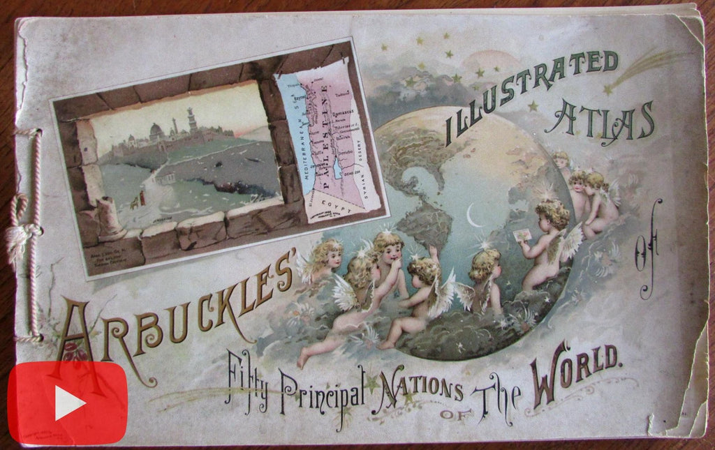 Arbuckles Coffee World Atlas 1889 color 50 miniature maps Nations wonderful