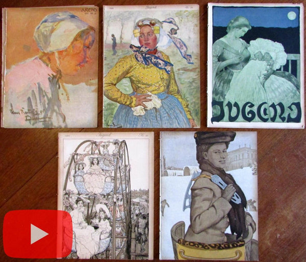 Art Nouveau Jugenstil 1902-10 lot x 5 female German Art Periodicals A+ covers