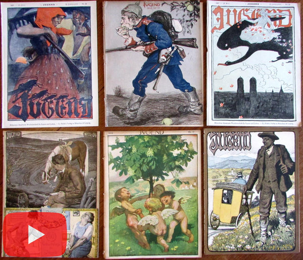 Art Nouveau Jugenstil 1897-1904 lot x 6 wonderful covers German Periodicals