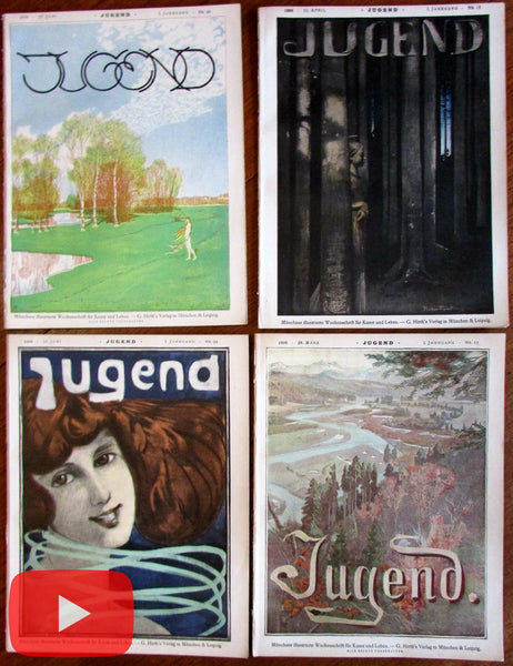 Art Nouveau Jugenstil Symbolism 1896 lot x 4 wonderful German Art periodicals