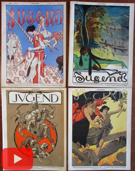 Wonderful Art Nouveau magazine covers 1896 lot x 4 Jugend splendid A+