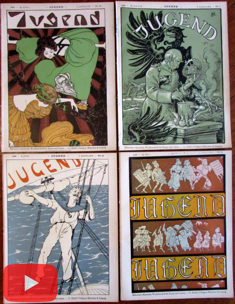 Art Nouveau magazines 1896 Jugend lot x 4 outstanding covers graphics ads