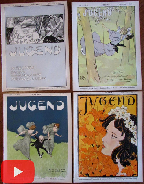 Art Nouveau Jugend magazines 1896 lot of 4 outstanding covers graphics fantasy