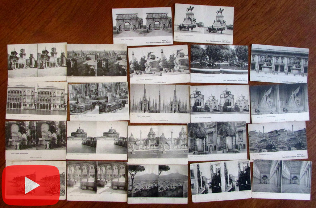Italy stereoview postcards c.1910-20 era lot x 22 scarce views Rome